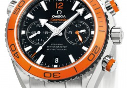 Cheap Replica Omega Seamaster Planet Ocean Chrono Watches Features Black Aluminium Ring
